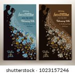 floral wedding invitation in... | Shutterstock .eps vector #1023157246