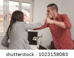 businessman punching hitting... | Shutterstock . vector #1023158083