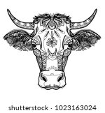 the cow's head. a cow with big... | Shutterstock .eps vector #1023163024