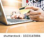businessman working with... | Shutterstock . vector #1023165886