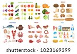 all food set. fruits and... | Shutterstock .eps vector #1023169399