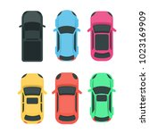 cars top view. colorful... | Shutterstock .eps vector #1023169909