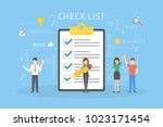 check list illustration. people ... | Shutterstock .eps vector #1023171454