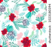 seamless pattern with leaves... | Shutterstock .eps vector #1023180394