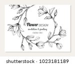 magnolia flower frame drawing ... | Shutterstock .eps vector #1023181189