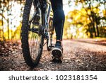 low angle view of cyclist... | Shutterstock . vector #1023181354