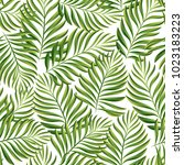 tropical pattern. palm leaves... | Shutterstock .eps vector #1023183223