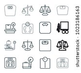 scales icons. set of 16... | Shutterstock .eps vector #1023186163