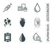 blood icons. set of 9 editable... | Shutterstock .eps vector #1023186208