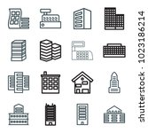 skyscraper icons. set of 16... | Shutterstock .eps vector #1023186214