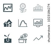 growth icons. set of 9 editable ... | Shutterstock .eps vector #1023186274