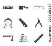 measure icons. set of 9... | Shutterstock .eps vector #1023186364
