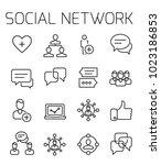 social network related vector... | Shutterstock .eps vector #1023186853