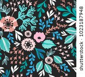 ethnic floral seamless pattern  | Shutterstock .eps vector #1023187948
