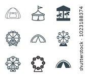 fair icons. set of 9 editable... | Shutterstock .eps vector #1023188374