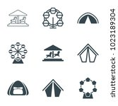 fair icons. set of 9 editable... | Shutterstock .eps vector #1023189304