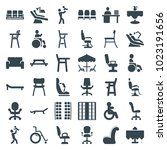 chair icons. set of 36 editable ... | Shutterstock .eps vector #1023191656