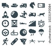 speed icons. set of 25 editable ... | Shutterstock .eps vector #1023193084