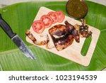 cuttlefish grilled octopus... | Shutterstock . vector #1023194539