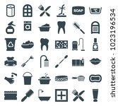 clean icons. set of 36 editable ... | Shutterstock .eps vector #1023196534