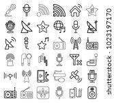 radio icons. set of 36 editable ... | Shutterstock .eps vector #1023197170