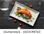 delicious sandwich made of... | Shutterstock . vector #1023198763