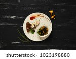 black and green olives in bowl... | Shutterstock . vector #1023198880