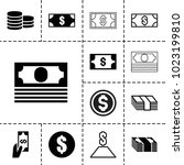 salary icons. set of 13... | Shutterstock .eps vector #1023199810