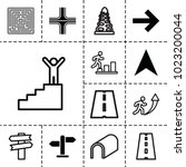 way icons. set of 13 editable... | Shutterstock .eps vector #1023200044