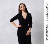beautiful brunette female model ... | Shutterstock . vector #1023202240