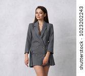 pretty female model wearing... | Shutterstock . vector #1023202243