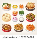 traditional dishes of korean... | Shutterstock .eps vector #1023204289