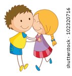 illustration of 2 young lovers | Shutterstock .eps vector #102320716