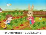 rabbit and boy picking vegies   ... | Shutterstock . vector #102321043