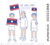 boy and girl holding national... | Shutterstock .eps vector #1023213868