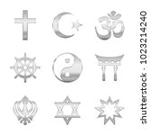 religion symbols. silver signs... | Shutterstock .eps vector #1023214240