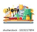 kitchen utensils design flat.... | Shutterstock .eps vector #1023217894