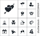 vector set of love icons.... | Shutterstock .eps vector #1023218464
