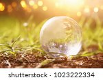 low angle small crystal globe...   Shutterstock . vector #1023222334