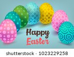 easter card with paper cut egg...   Shutterstock .eps vector #1023229258