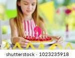 adorable girl having birthday... | Shutterstock . vector #1023235918