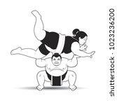 black and white sumo wrestler...   Shutterstock .eps vector #1023236200