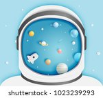 paper rocket and solar system... | Shutterstock .eps vector #1023239293
