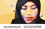 illustration of a muslim woman... | Shutterstock .eps vector #1023246988