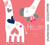 cute giraffe with hearts vector ... | Shutterstock .eps vector #1023249598