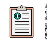 medical report color icon.... | Shutterstock .eps vector #1023250168