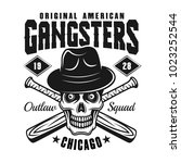 gangster skull in fedora hat... | Shutterstock .eps vector #1023252544