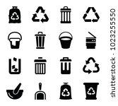 garbage icons. set of 16... | Shutterstock .eps vector #1023255550