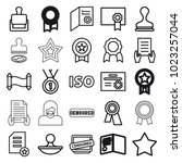 certificate icons. set of 25... | Shutterstock .eps vector #1023257044