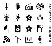 radio icons. set of 16 editable ... | Shutterstock .eps vector #1023257053